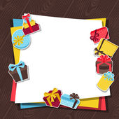 Celebration background or card with sticker gift boxes. — Stock Vector