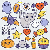 Set of halloween kawaii cute doodles and objects. — Stock Vector
