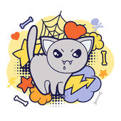 Halloween kawaii print or card with cute doodle cat. — Stock Vector