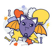 Halloween kawaii print or card with cute doodle bat. — Stock Vector