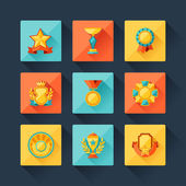 Trophy and awards icons set in flat design style. — Stock Vector