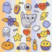 Set of halloween kawaii cute sticker doodles and objects. — Stock Vector
