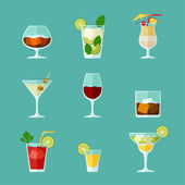 Alcohol drinks and cocktails icon set in flat design style. — Stock Vector