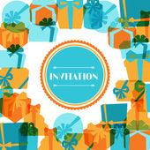 Invitation background or card with colorful gift boxes. — Vector de stock