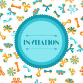 Invitation card with abstract various bows and ribbons. — Stock Vector