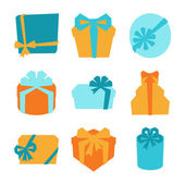 Celebration icon set of colorful gift boxes. — ストックベクタ
