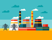 Illustration of industrial power plant in flat style. — Stock Vector
