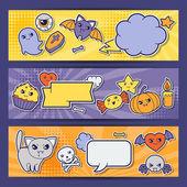 Halloween kawaii horizontal banners with cute doodles. — Stock Vector