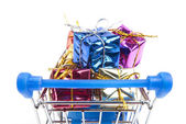 Shopping Cart and gift box — Stock Photo