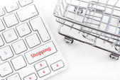 Shopping Cart and keyboard — Stock Photo