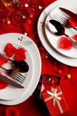 Romantic Dinner Table and wedding rings — Stock Photo