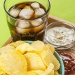 Crisps and coke — Stock Photo