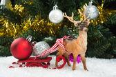 Christmas balls on sledge on sledge — Stock Photo