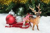 Christmas balls on sledge — Stock Photo