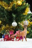 Christmas gifts on sledge — Stock Photo