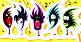 Crazy singers — Stock Vector