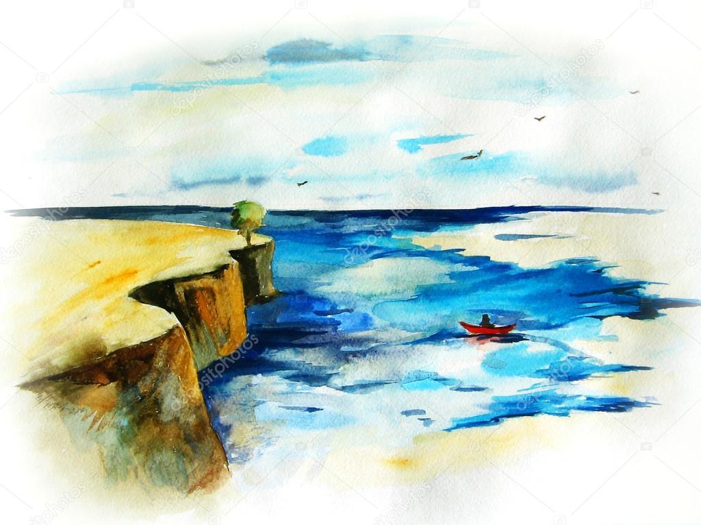 Paesaggio marino foto stock elena bessonova 22834988 for Disegno paesaggio marino