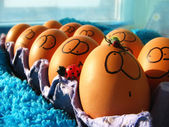 Funny easter eggs — Stock Photo