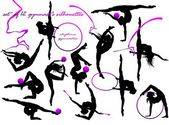 Gymnast's silhouettes — Stock Vector