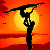 Beautiful couple on a sunset in passionate dance — Stock Vector