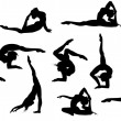 Set of 11 yoga asana's silhouettes — Stock Vector