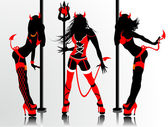Women's vector silhouettes in devil's erotic suits — Stock Vector