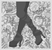 Silhouette of female legs on a floral background — Vector de stock
