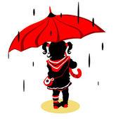 Moça andando sob a chuva — Vetor de Stock
