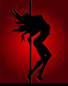 Dancing girl in red light — Stock Vector