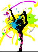 Dancing girl in abstract splashes — Stock Vector