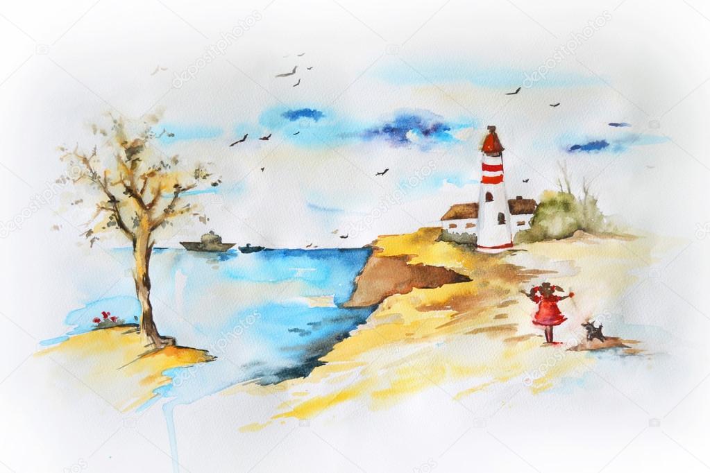 Paisagem marinha gua cor de desenho fotografias de for Disegno paesaggio marino