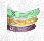 Mostrar la cinta colorida productos promocionales diseño, ilustración vectorial — Vector de stock