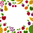 Fruits and berries frame composition. — Stock Vector