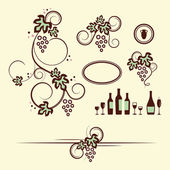 Winery design objects set. — Stock Vector