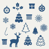 Set of Christmas icons. — Stock vektor
