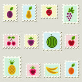 Postal stamps set with fruits and berries. — Stock Vector