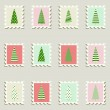 Постер, плакат: Postal stamps set fir trees