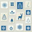 Stock Vector: Set of winter postal stamps.