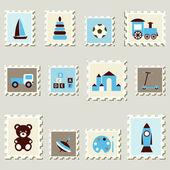 Conjunto de selos postais com brinquedos de meninos. — Vetorial Stock
