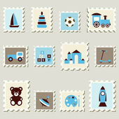 Postal stamps set with boys toys. — Vetorial Stock