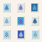 Conjunto de árvores de decoração de selos postais. — Vetorial Stock