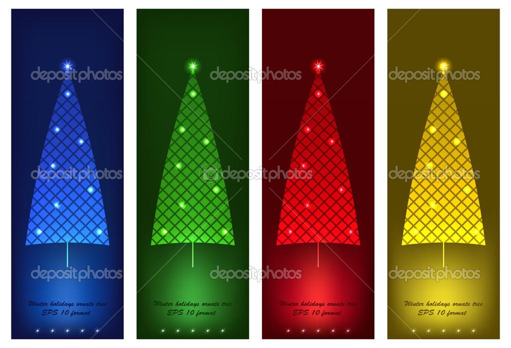 冬季节日装饰树集 — 图库矢量图像08