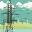 High-voltage tower silhouette on the urban background. — Stock Vector #9824628