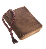 Old bible and rosary — Stock Photo
