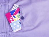 паспорт, деньги, переводчик в кармане — Стоковое фото