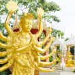 Golden statue of the deity with multiple arms — Stock Photo