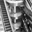 Escalators terminal Anniversary International Airport Domodedovo. — Stock Photo