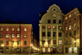 Stockholm Old Town square at night. — Stock Photo