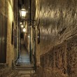 Old Town alley with lanterns at night. — Stock Photo