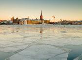 Stockholm, Riddarholmen in winter. — Stock Photo